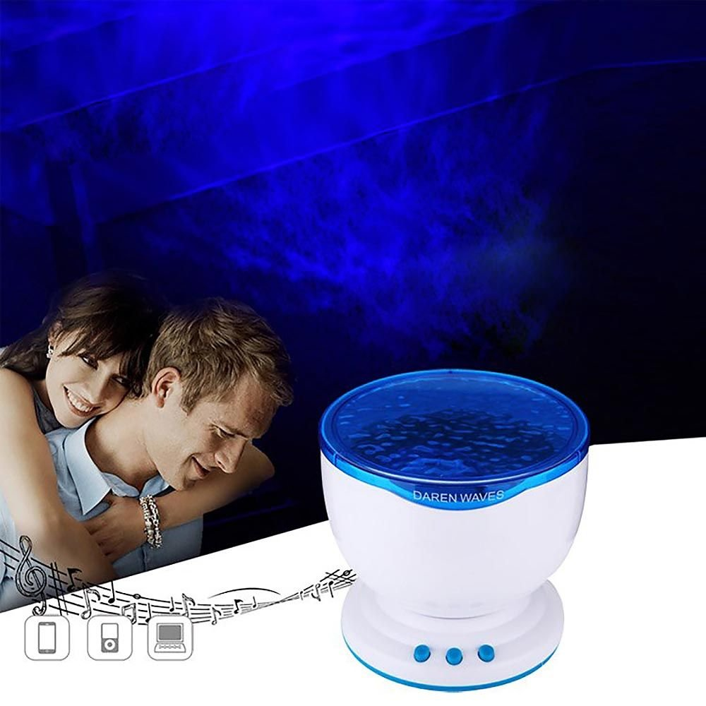 HuaYang Creative LED Romantic Blue Ocean Waves Night Light Projector Lamp with Stereo Speaker US Plug