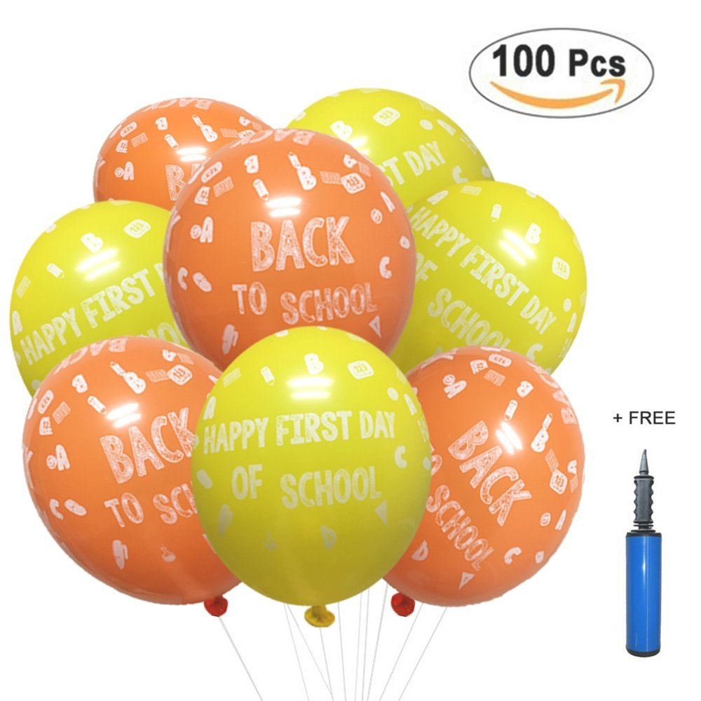 Back to School Balloons Decorations, Happy First Day of School Sign Photo Prop for Kindergarten Classroom Welcome Student Party Favors Supplies Decor 100 Pack with 12'' Latex Pump