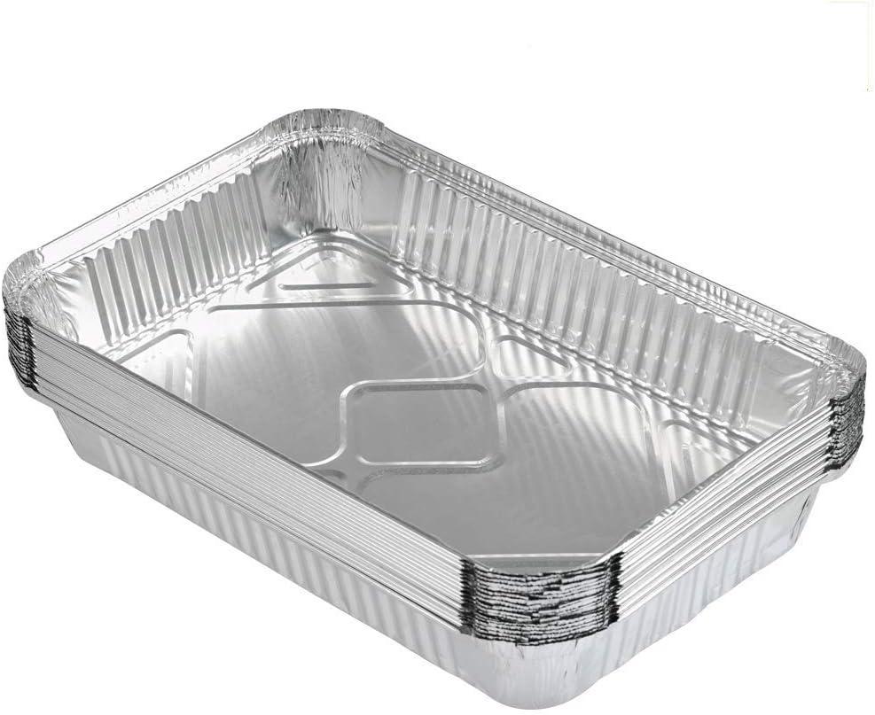 FOCCTS 25pcs Bandejas de Papel Aluminio Desechables de 2200ml para Barbacoas Resistentes al Calor 600℃(31*21*5cm)