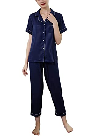 651d08317d Women s Pajama Set Short Sleeve Lapel Striped Pajamas Summer Clothes  Fashion Leisure Loose Comfortable Breathable Homewear