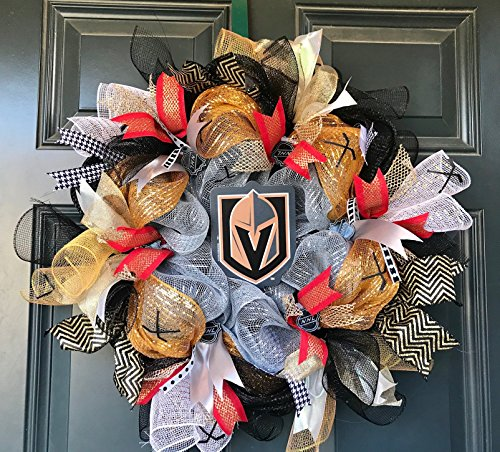Hockey Wreath (Golden knights wreath , Las Vegas golden knights, golden knights decor, vegas golden knights wreath, hockey wreath, knights wreath)