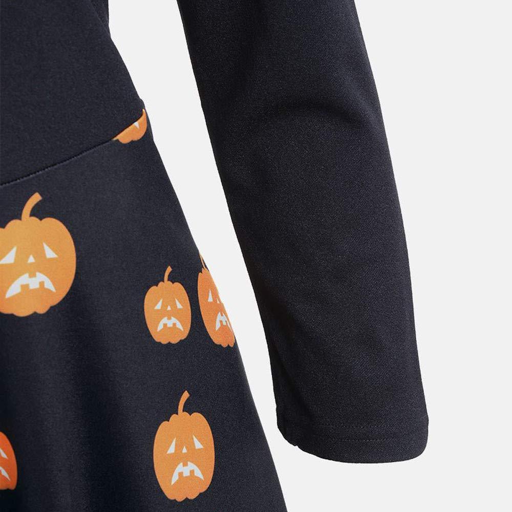 Abito da Donna Halloween con Zucca Stampa Scollo a V Abiti da Cerimonia Donna Lunghi Eleganti Maniche Lunghe Party Prom Swing Abiti Dress ABCone Vestito da Cocktail da Donna