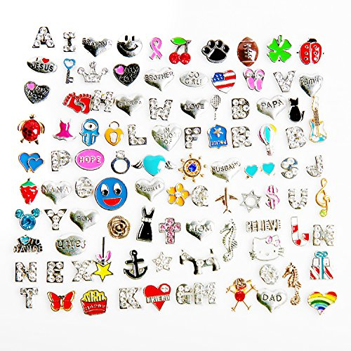 100 Pcs Mixed Random Floating Charms for Glass Living Memory Lockets Origami Owl Lockets DIY Wholesale Gold and Silve (100 PCS, Model 1) -