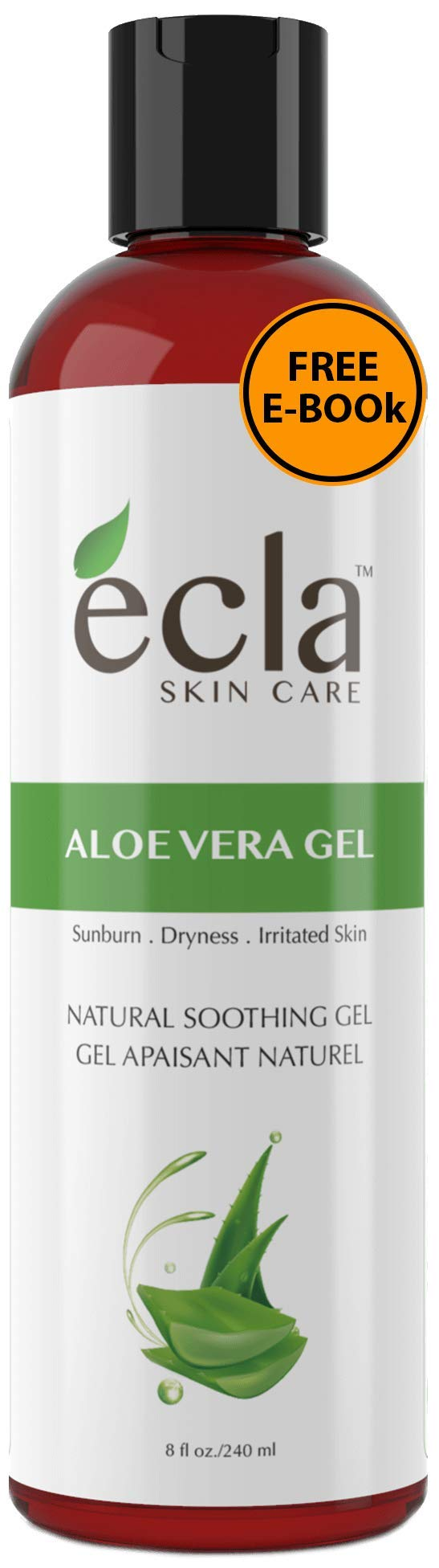 Aloe Vera Gel for Face, Body and Hair - Made with Organic 100% Pure Cold Pressed Juice, Not Powder (8 Oz - 240ml)