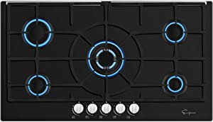 Empava 36 in Gas Stove Cooktop NG/LPG Convertible with 5 Sealed Burners in Black Tempered Glass EMPV-36GS5L9I