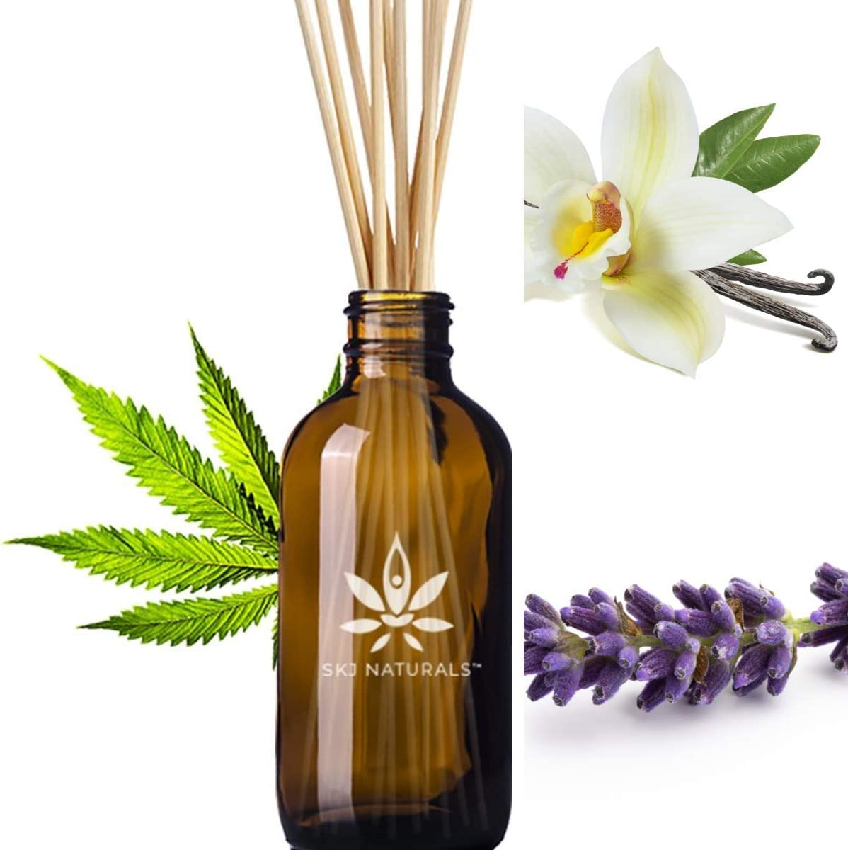 Soothing Hemp Lavender Vanilla Aromatherapy Reed Diffusers | 100% Pure Organic Essential Oils | 10 Reed Diffuser Sticks and 4 oz Bottle | Home Fragrance | Hand Made in The USA