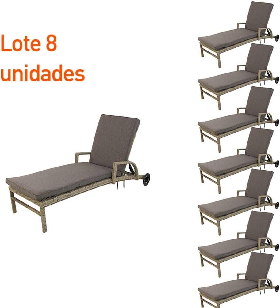 Edenjardi Pack 8 tumbonas para Piscina, Reclinable y con Ruedas, Tamaño: 210x70x54 cm, Aluminio y ratán sintético Plano: Amazon.es: Jardín