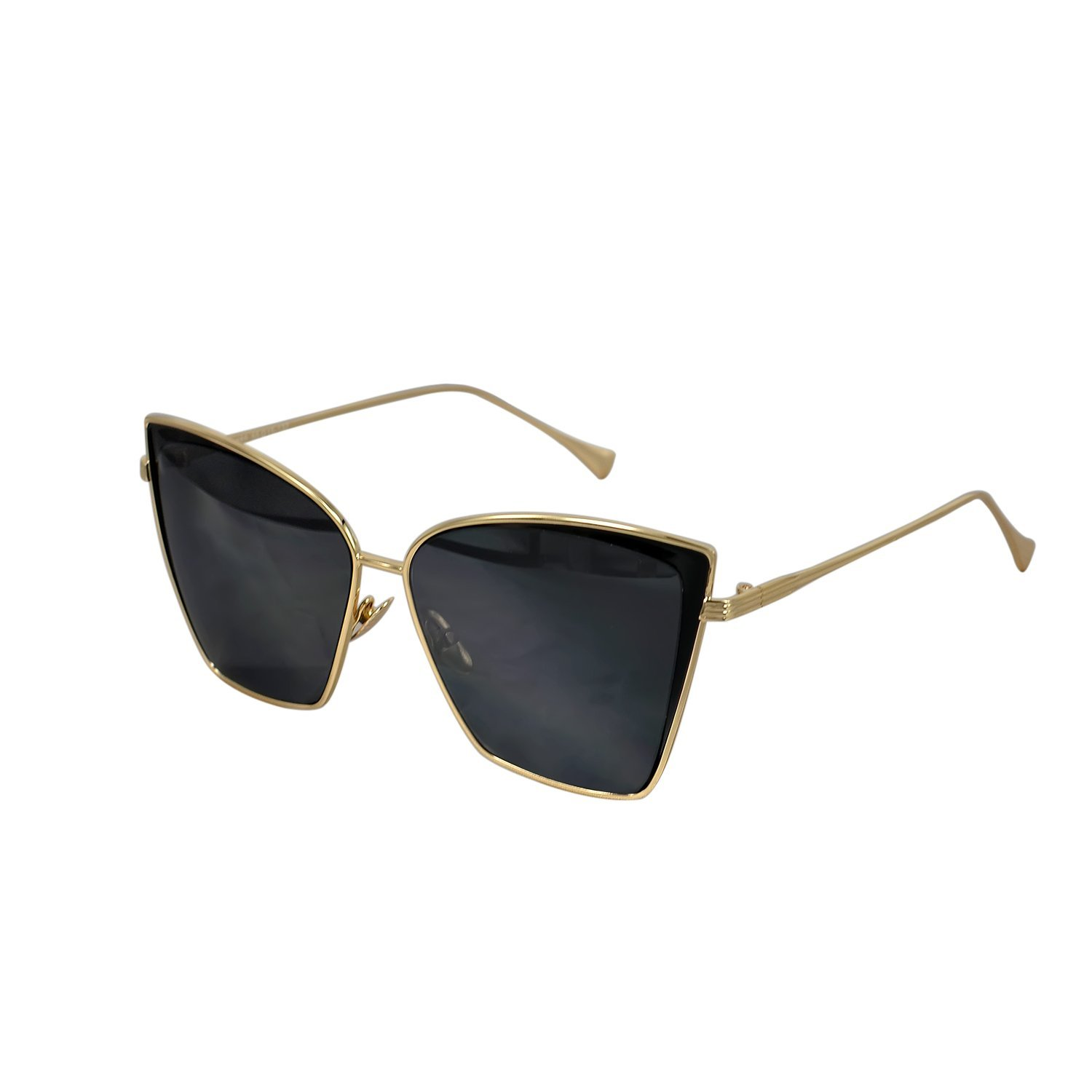 Ucspai Cateye Overside Sunglasses in Gold Frame Grey Lens