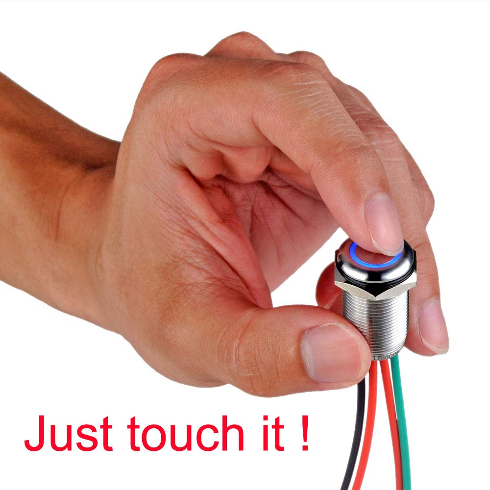 Ulincos Touch Switch UT16W1 Momentary Switch DC 6V to 24V Blue LED Suitable for 16mm 5//8 Mounting Hole