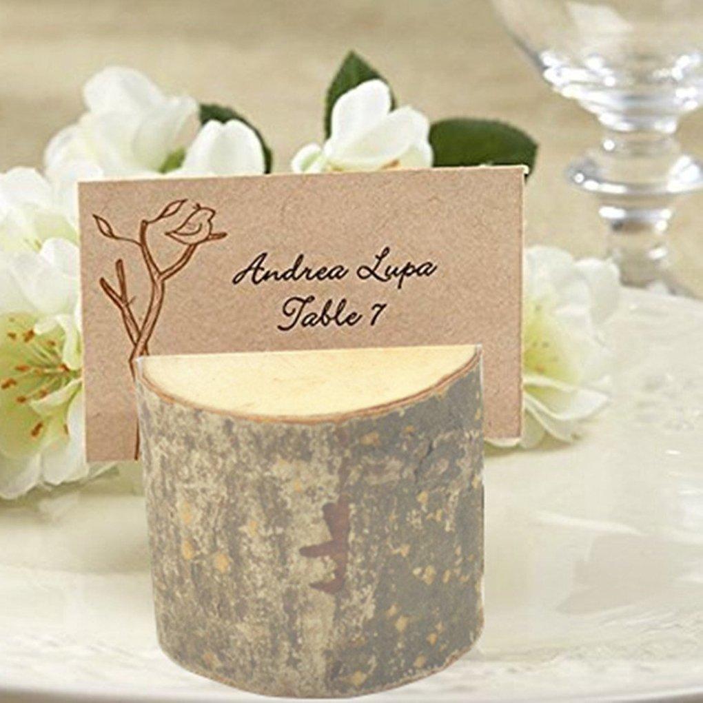 M-Egal 10pcs Wooden Card Holder Seat Folder Photo Holder Wedding Table Number Holder Wood color 2.7cm*3.2cm