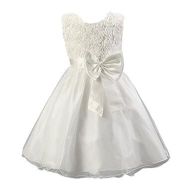 bf3adcaa731ea LSERVER Robe Enfant Mariage Cérémonie Filles sans Manches Fleur Ceinture  Noeud Papillon