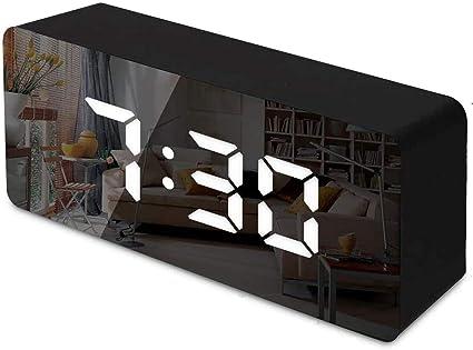 Ampio Display LED Digitale Sveglia da Comodino con Temperatura e LED Grande Schermo Luminosit/à Regolabile per Camera da Letto Nero Ufficio Snooze RMFC Sveglia Digitale a Specchio
