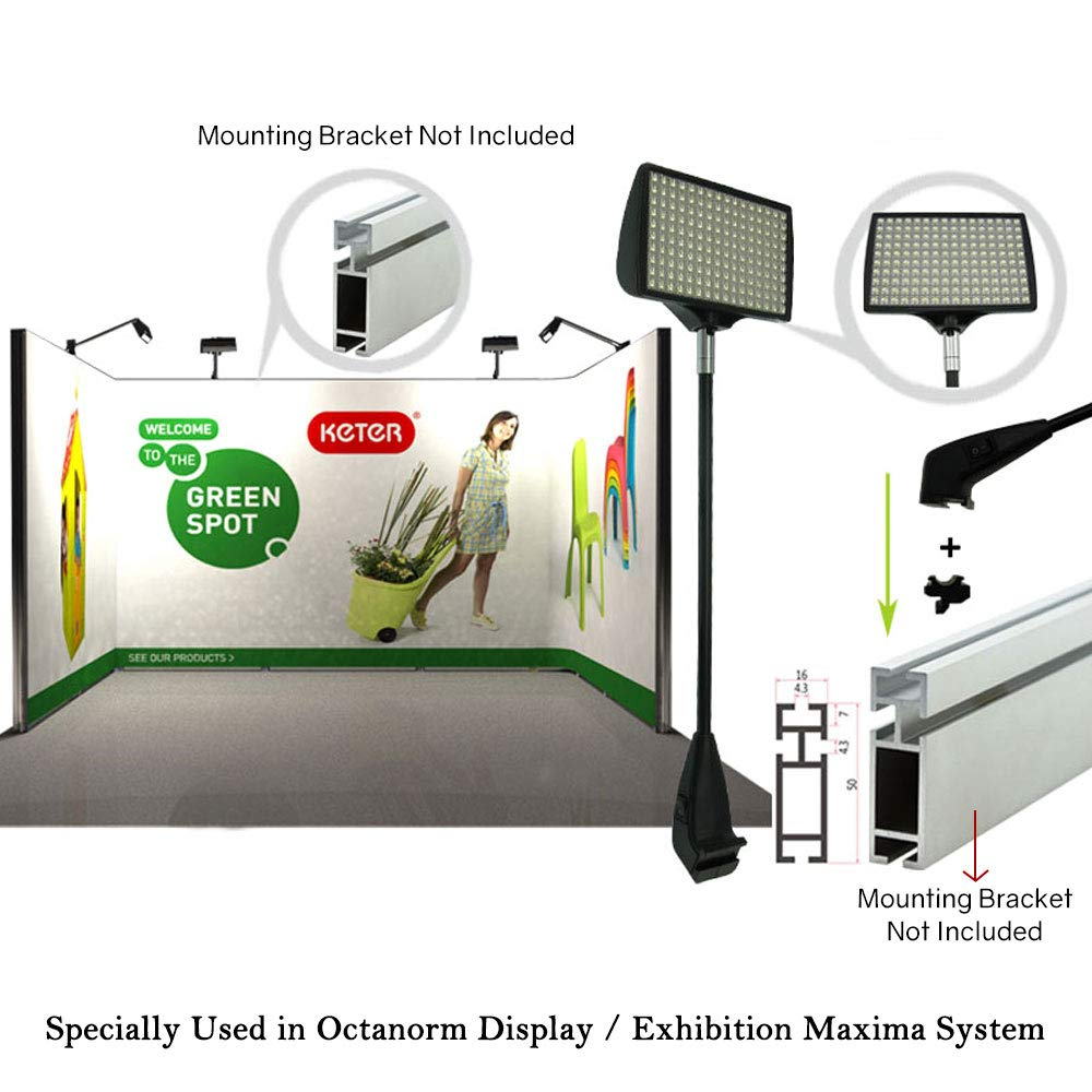 Trade Show Lights, HitLights 2 Packs LED Display and Exhibit 12V DC LED Arm Lights, Pop-Up Halogen Replacement, Includes UL Power Supply and Mounting Hardware (C-Clamp-Black) by HitLights (Image #6)