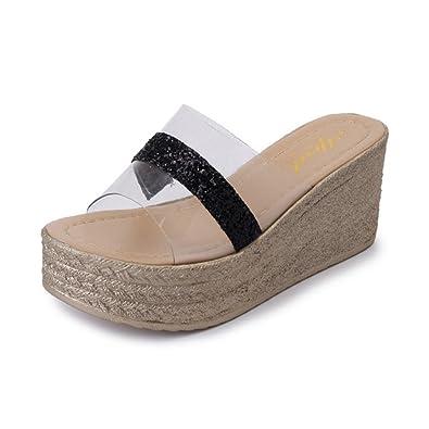 Frauen es Wedge Slide Transparent Pailletten Sandalen Mode Outdoor  Plattform Sommer Anti-Slip Slipper - sommerprogramme.de cf8fcc46d0