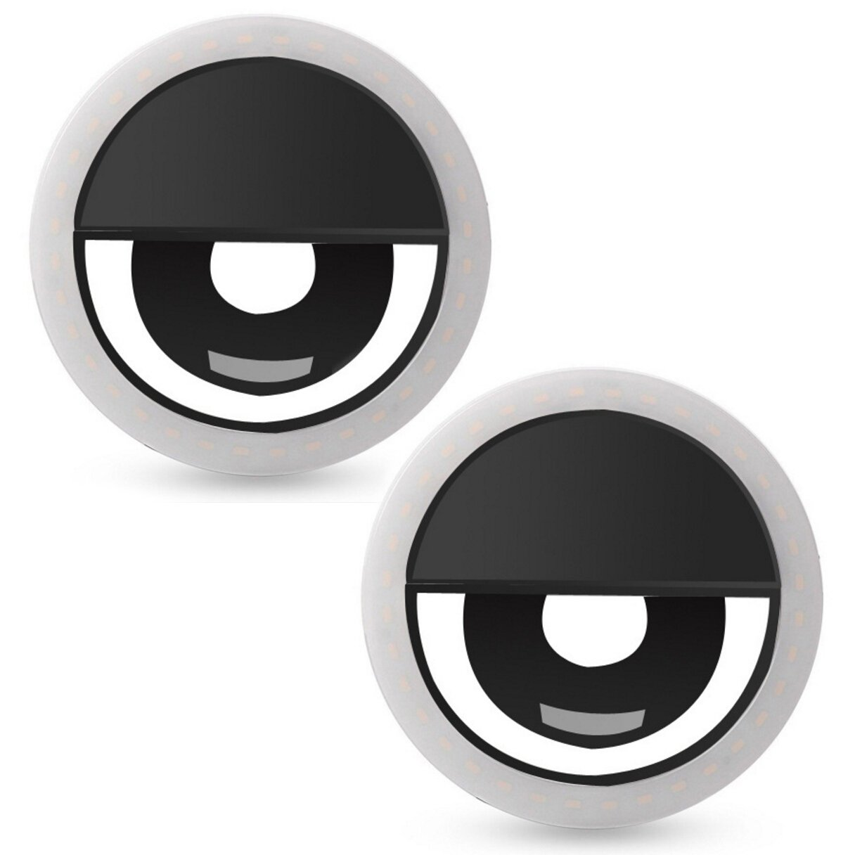 Magik Portable Selfie Luminous 36 LED Light Up Smart Phone/Tablet/Computer Ring for Photo Shooting, Live Show and Any Occasion (2 Pack-Black)