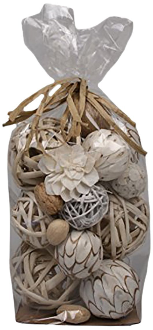 Jodhpuri Decorative Vase Fillers for Centerpieces – Weave and Solid Plastic Sphere Bowl Mix for Table Décor – White with Beige Rattan – 18 Assorted Pieces