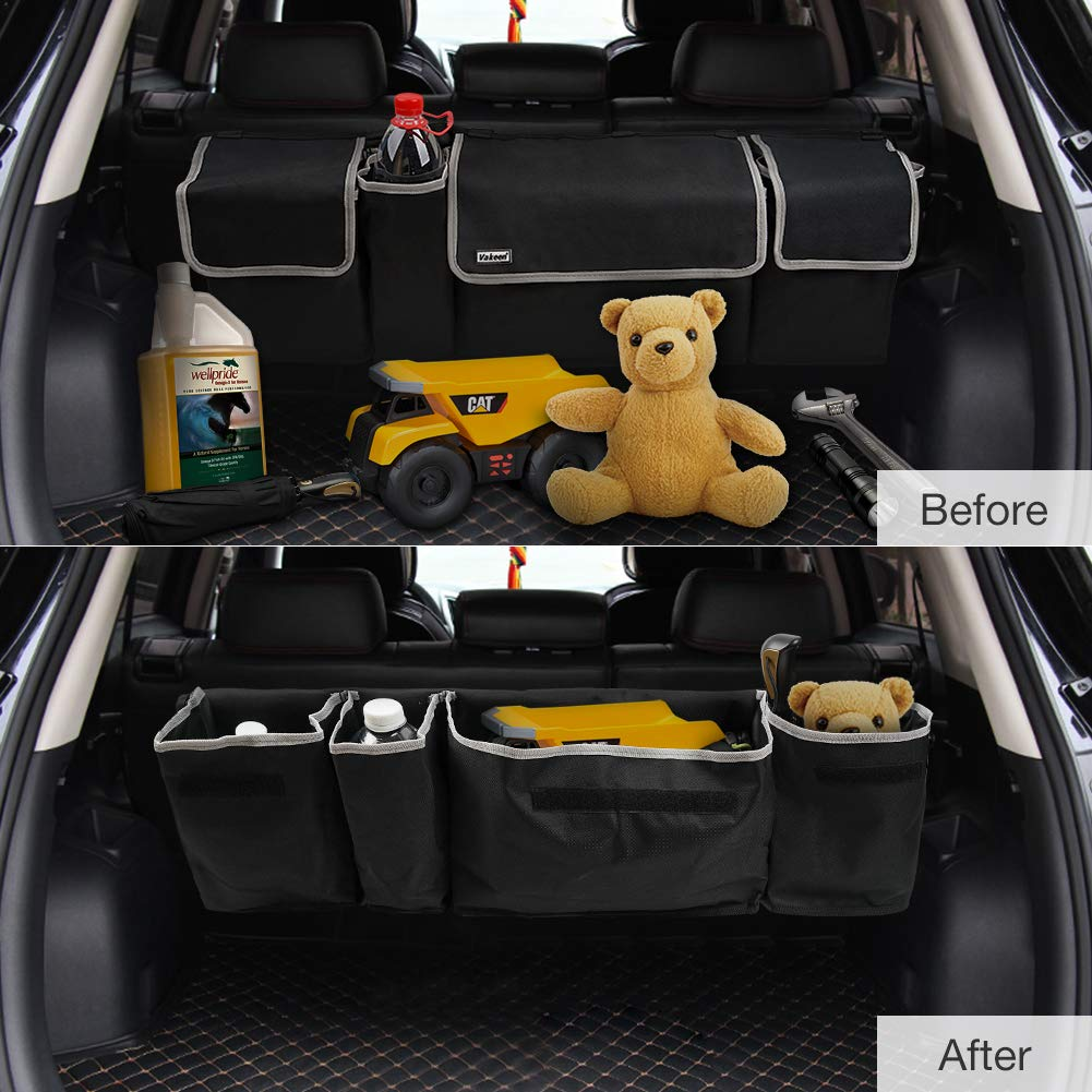 Backseat Trunk Organizer for SUV /& Car Hanging Organizer Foldable Cargo Storage Bag with 4 Pockets Adjustable Strap Durable Cover and Fit for Most Vehicles Vakeen