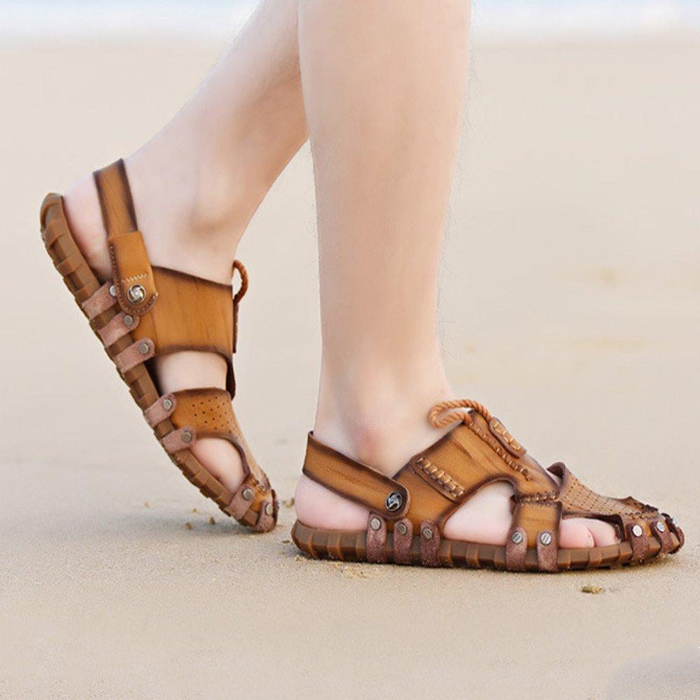 Xiaoqin Männer Comfort offene Zehe Casual Leder Comfort Männer Schuhe Sandalen geeignet für Innen- und Outdoor-Freizeit-Sport (Farbe : Dark Braun, Größe : 42 EU) Khaki 187016