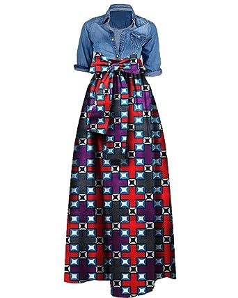 50da56bdea Amazon.com  GAMISOTE Women s Plus Size African Print Skirt Dashiki A Line  Long Maxi Skirts  Clothing