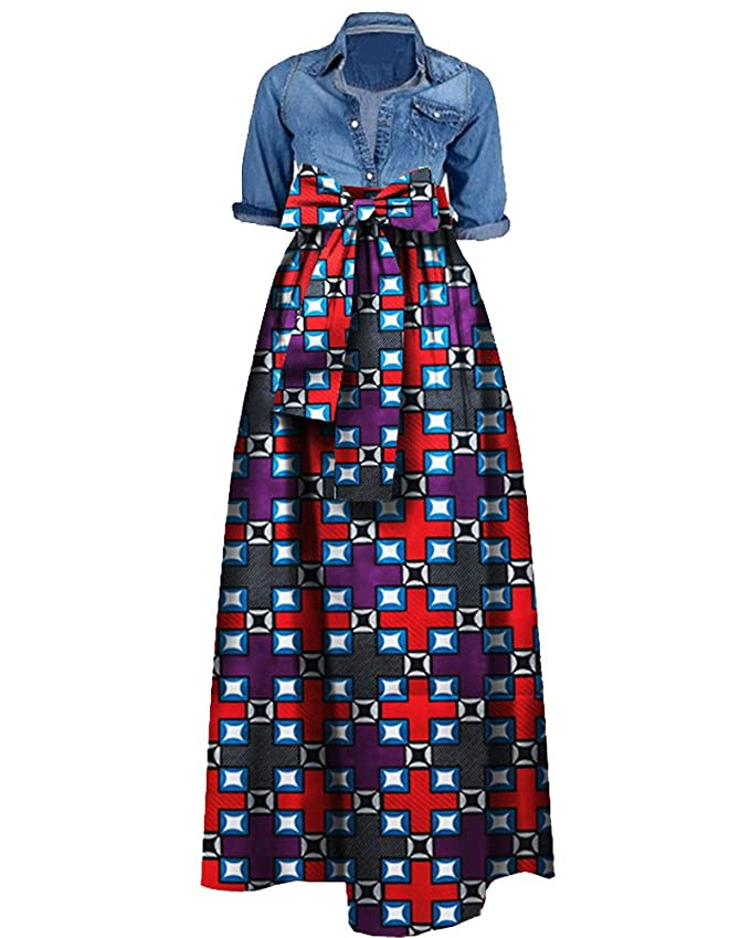 a0f1d63acb Amazon.com: GAMISOTE Women's Plus Size African Print Skirt Dashiki A Line Long  Maxi Skirts: Clothing