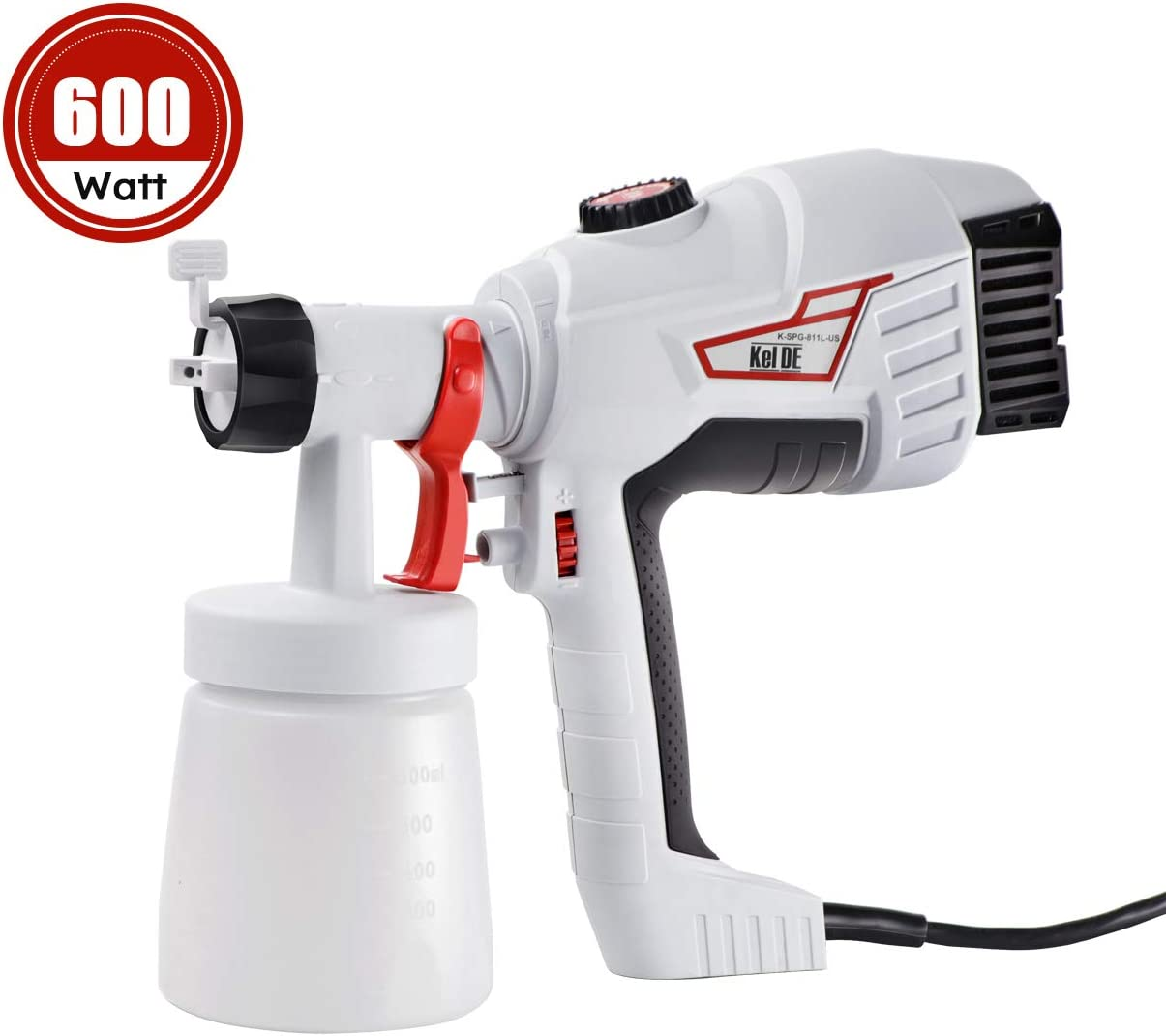 KeLDE 600W High Power Paint Sprayer, 900ml min HVLP Home Electric Spray Gun with 3 Spray Patterns for Fence, Cabinet and Furniture