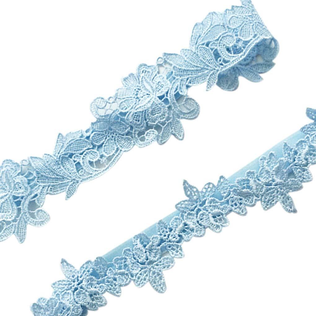 Lidahaotin 2Pcs Women Girls Lace Garter Set Wedding Party Garter Belt Flower Floral Design Bride Leg Ring Strap Blue