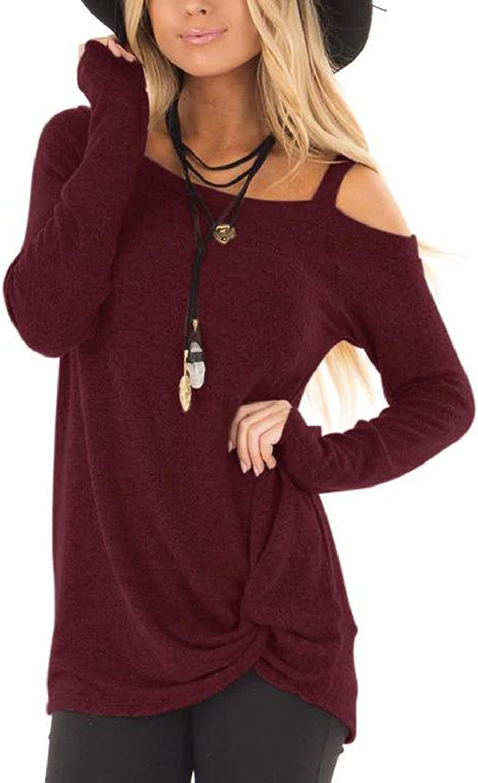 YOINS Maglia Donna Manica Lunga Maglie Eleganti Donna Invernali Camicia Spalla Senza Spalline Magliette Casuale Asimmetrica Felpa Autunno Pullover