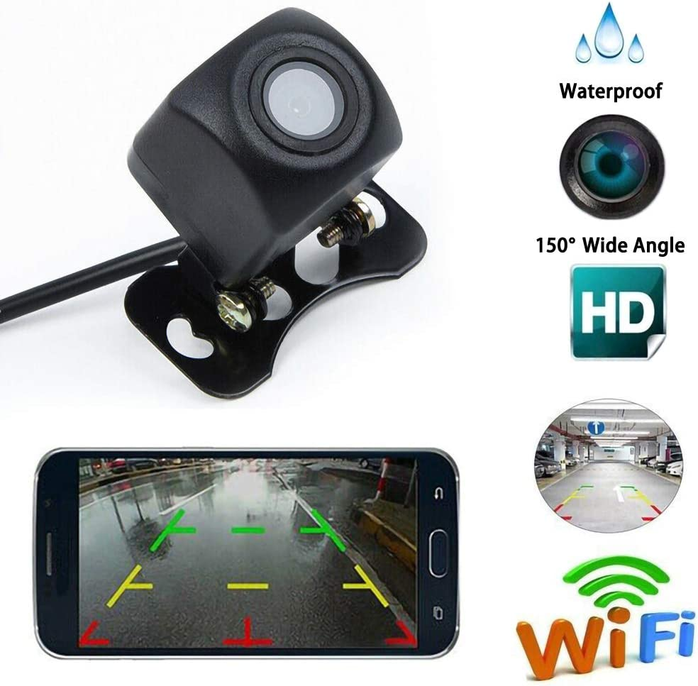 JoyTutus Wifi License Plate Backup Camera Phone App Digital HD Night Vision 170 Wide Angle Rearview Waterproof IP68 Signal Interference-Free Fits All Vehicles Backup Camera License Plate Wireless Wifi