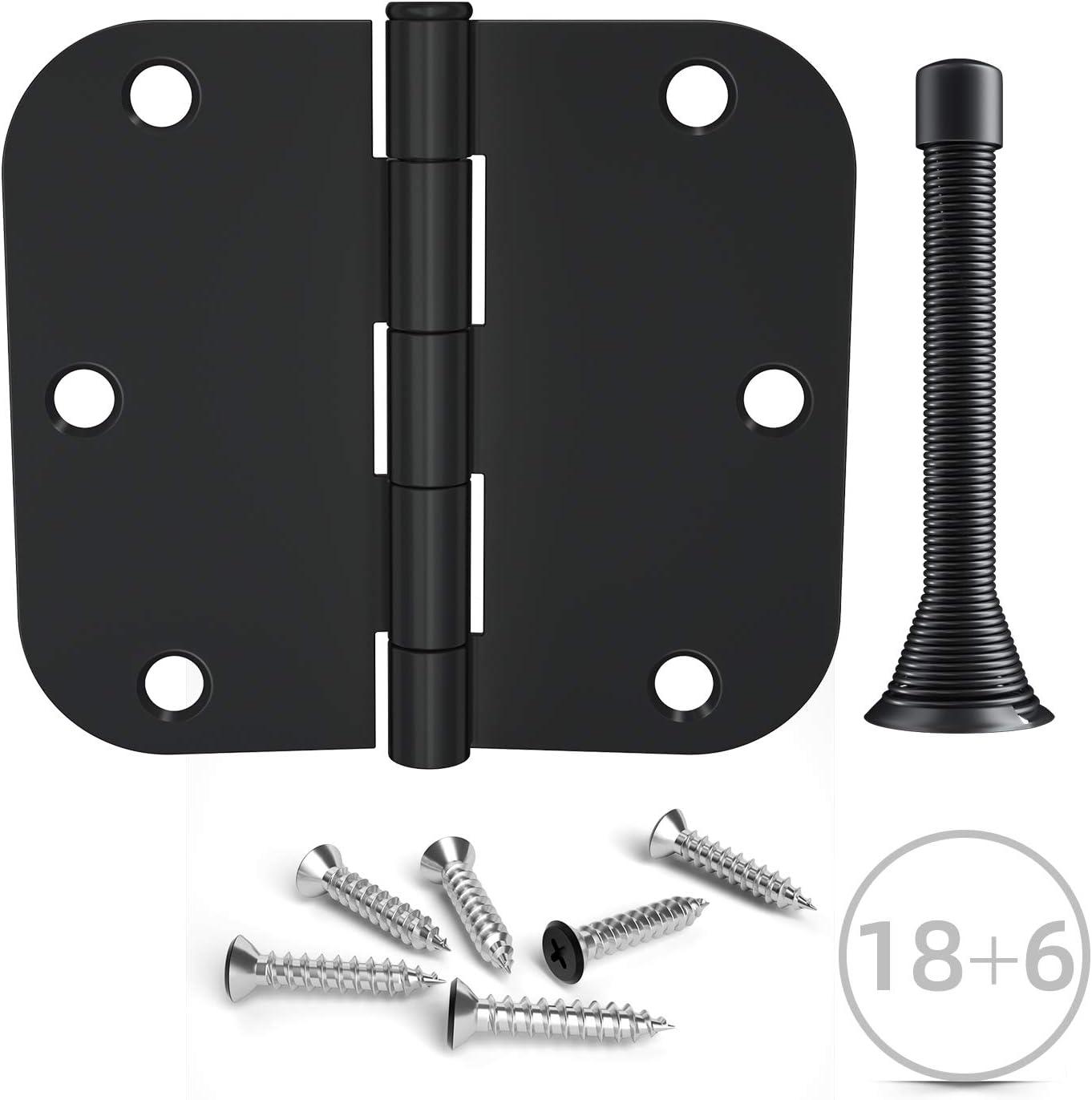 Hosom 3.5 Inches Matte Black Door Hinges, 18 Pack