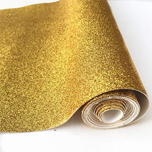 (25cm x 135cm) Roll Sparkly Superfine Glitter Vinyl Fabric Fine Glitter PU Leather Canvas Back Material for Shoes Bag Sewing Patchwork DIY Bow Craft Applique(Gold) ()