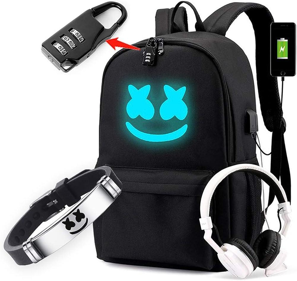 Smile Luminous Backpack with USB Charging Port Safety Lock & DJ Bracelet, Unisex Fashion Daypack Travel DJ Music Laptop Backpack