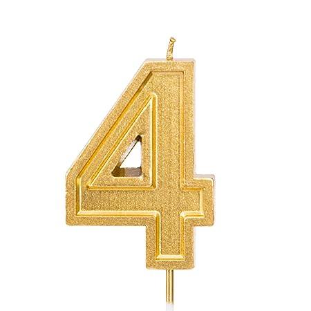 LUTER 2,76 Pulgadas Cumpleaños Grande Velas de Oro Cumpleaños con Purpurina Pastel De Velas Número de Velas Topper de la Torta Decoración para Fiesta ...