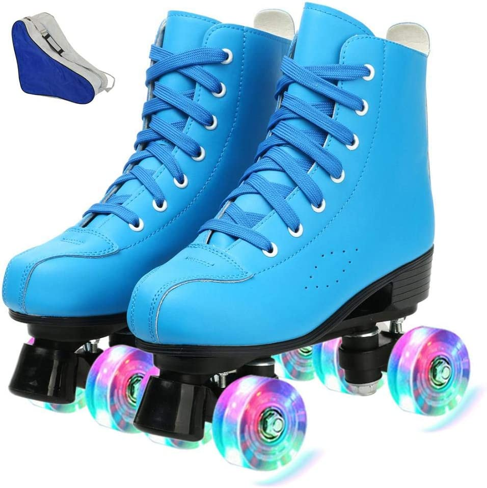 Womens Roller Skates PU Leather Classic High-top for Adult Shiny Light Up Four Wheels White BlackRoller Skates