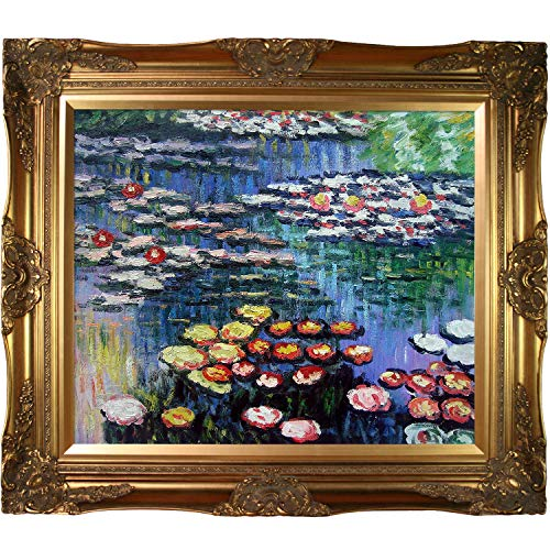overstockArt Water Lilies Pink with Victorian Gold Framed Oil Painting, 32 x 28 , Multi-Color