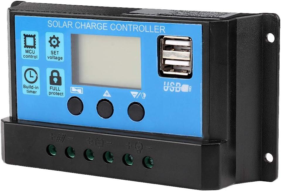 Controlador de Carga Solar, 12V-24V MPPT Cargador de Batería Solar Controlador de Carga Solar Controlador PWM 60A / 50A / 40A / 30A / 20A / 10A(50A)