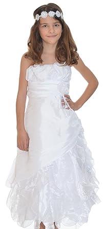 95b006f2b9c15 MAXMODE Robe de Communion Blanche Fille Candice: Amazon.fr ...