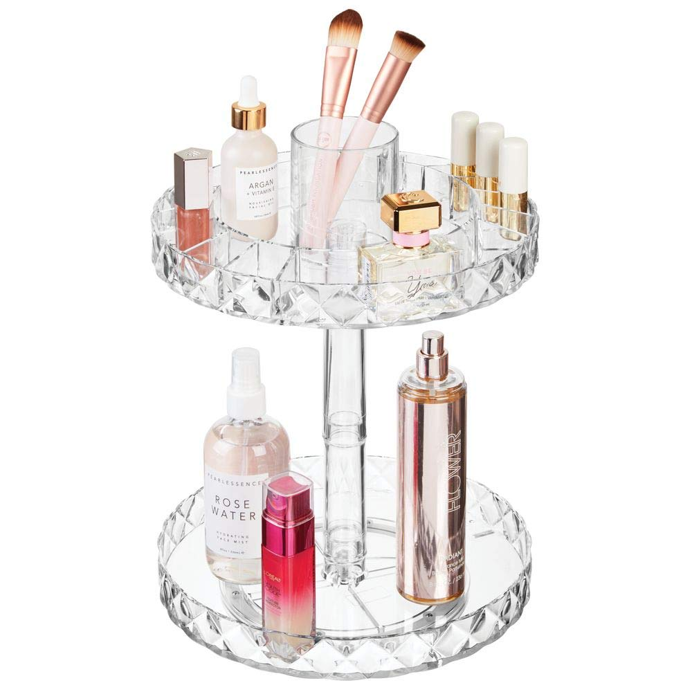 mDesign Spinning 2-Tier Lazy Susan Makeup Turntable Storage Center Tray - Rotating Organizer for Bathroom Vanity Counter Tops, Dressing Tables, Cosmetic Stations, Dressers - 10.25'' Round - Clear