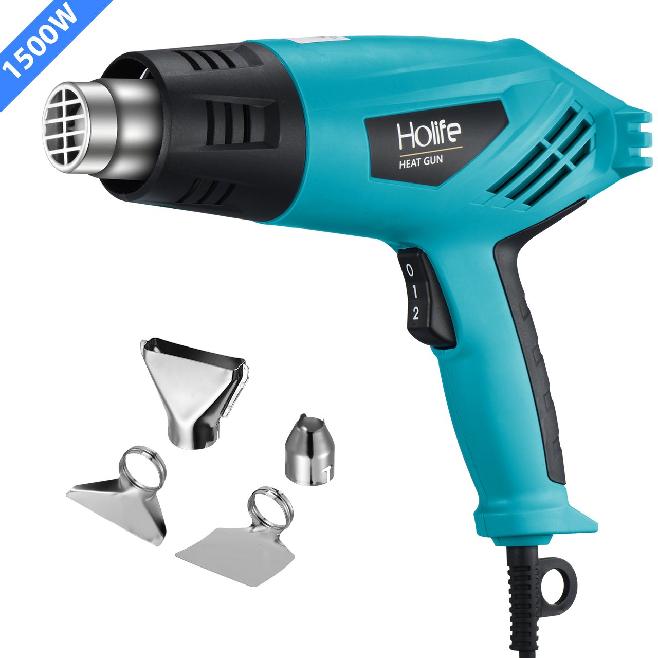 Heat Gun, PICTEK Hot Air Gun Dual Temperature 662℉-1022℉(350℃-550℃) 1500W with Four Nozzle Attachments, Over-Load Protection for Crafts, Shrink Wrapping, Removing Paint DS040