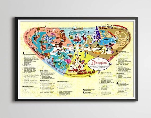 Amazon.com: Vintage 1960 DISNEYLAND MAP POSTER! (Full-Size 24