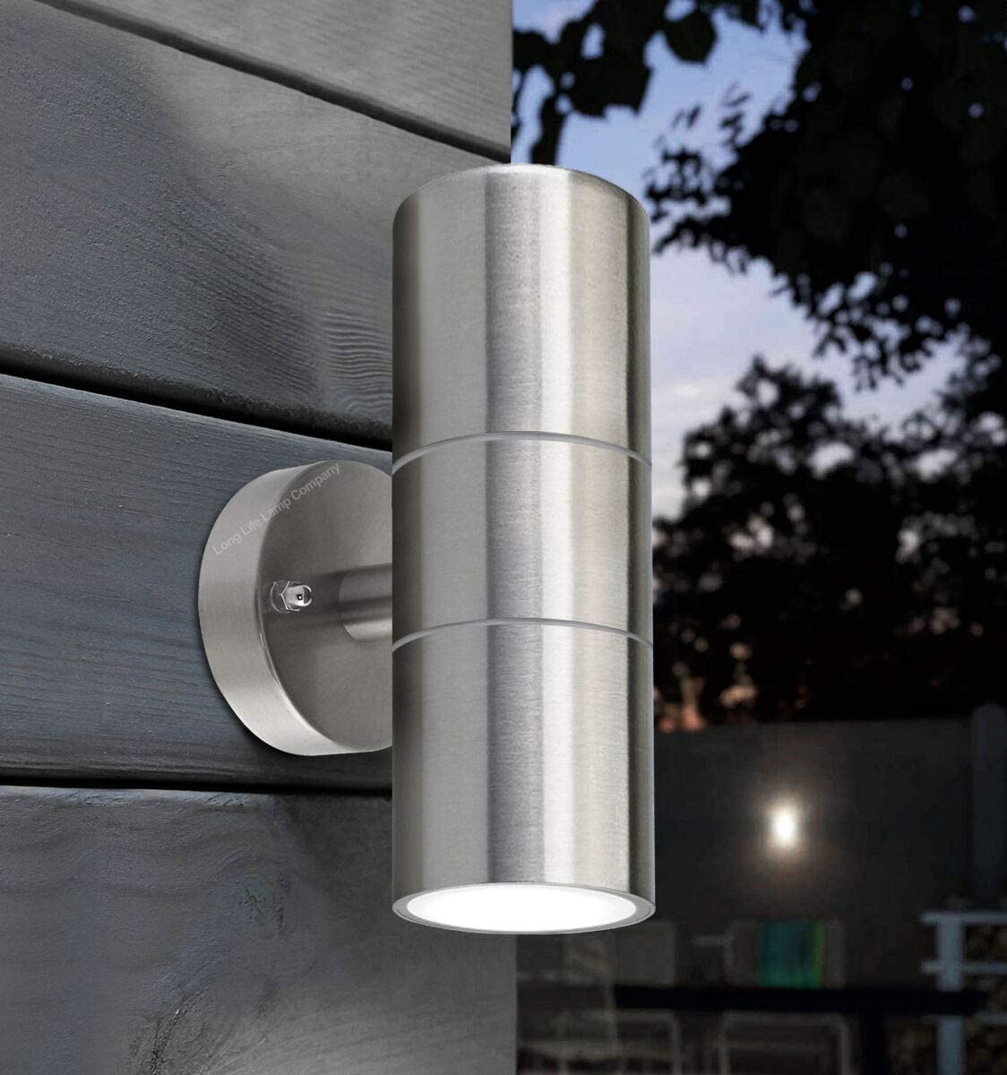 Aureole-Series Modern Porch Light UL-Listed Stainless Steel Satin Nickel Finished Outdoor Wall Lamp Weather-Proof Cylinder Wall Sconce Suitable for Garden Patio