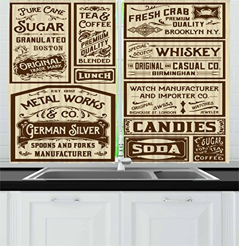 Vintage Kitchen Curtains by Ambesonne, Mega Pack Old Advertisement Designs Labels Retro Style Calligraphy Illustration, Window Drapes 2 Panels Set for Kitchen Cafe, 55 W X 39 L Inches, Brown Cream