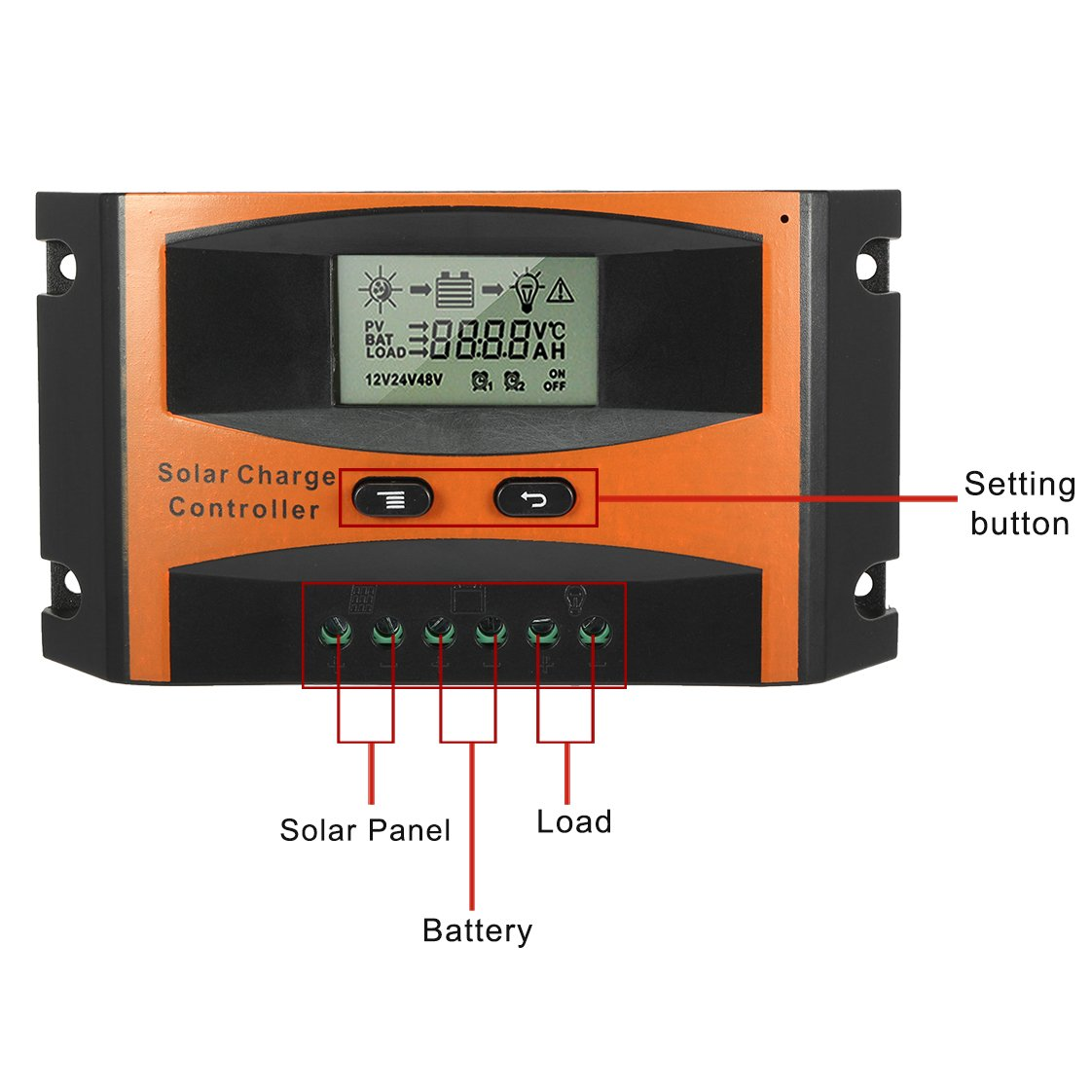 Uxcell Intelligent 25a Solar Panel Charge Controller Pwm Charger Schematic Manufacturers 12v 24v Battery Regulator Pv2425 Garden Outdoor