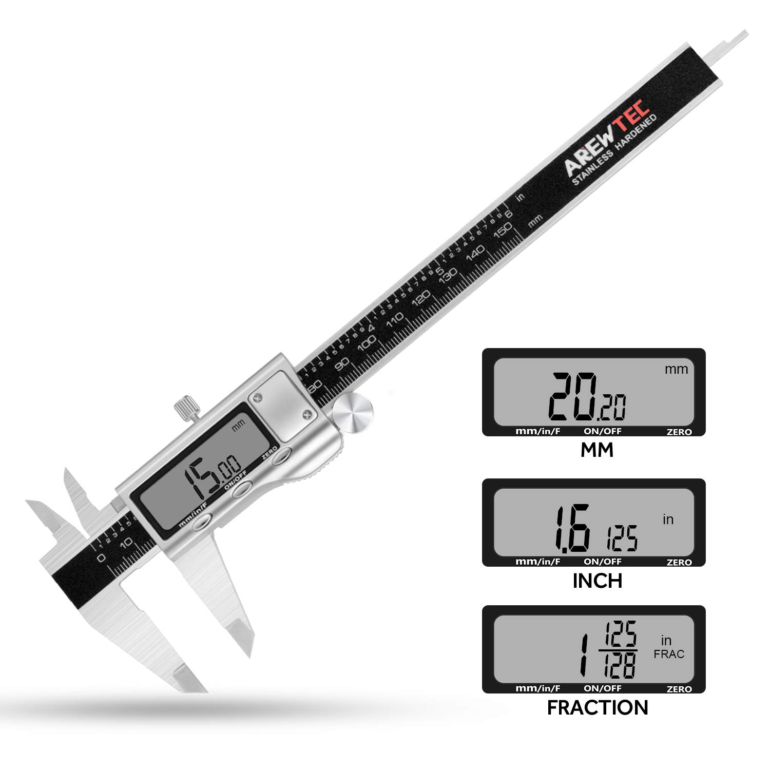 AREWTEC Electronic Digital Caliper 6 Inch/150mm Stainless Steel, DCN15A Polished Frosted Hardened Inch/Fractions/Metric Accurate Conversion Measurement, LCD Vernier Caliper Black