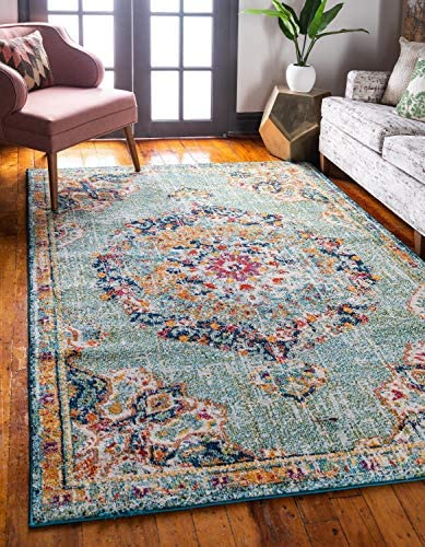 Unique Loom Penrose Collection Traditional Vintage Distressed Green Area Rug 9 0 x 12 0