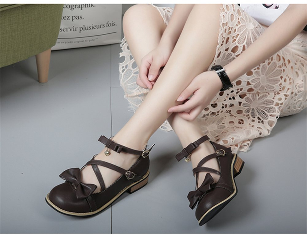 Japanese Sweet Lolita Low Chunky Heels Round Toe Bowtie Strappy Tea Party Shoes B07BTX2PYN 7 M US|Coffee