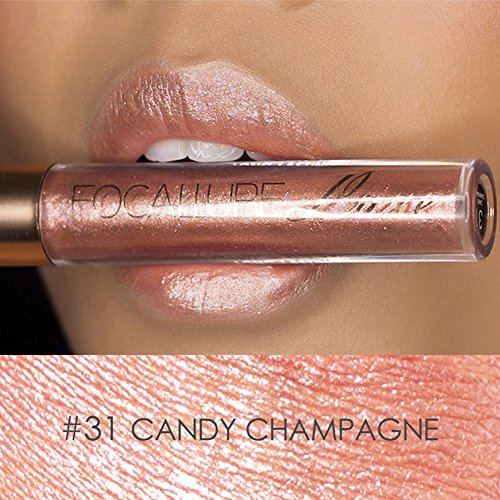 Focallure Lipstick Metallic Sparkly Pink Bronze Lipgloss Womens Makeup Stay On Glossier Glitter Lip Gloss Long Lasting Colorstay Liquid Waterproof Lip Stick Candy Champagne (Plumping Stain Lip)