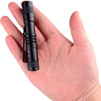 Lápiz LED Antorcha Mini linterna Clip de bolsillo súper pequeño Impermeable Alimentado por batería AAA (no incluida…