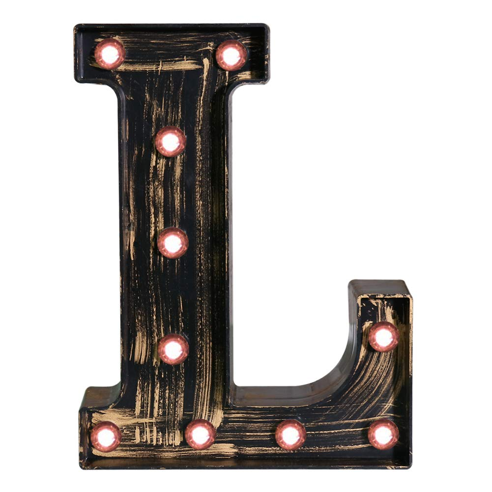 Pooqla Vintage Light Up Marquee Letters with Lights – Illuminated Industrial Style Lighted Alphabet Letter Signs - Coffee Bar Apartment Bedroom Wall Home Initials Decor - L