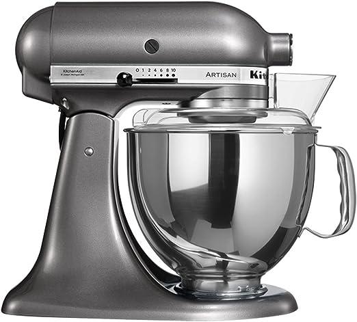 Kitchen 5KSM150PSEMS Batidora amasadora, 300 W, 4.8 litros, 1 Decibelios, Metal, plateado: Amazon.es: Hogar