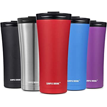 SIMPLE DRINK 16oz Vacuum Insulated Coffee Travel Mug - Elegant Stainless Steel Tumbler with Spill-Proof Lid, Works Great for Ice Drink, Hot Beverage